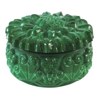 Green Malachite Glass Sunflower Box