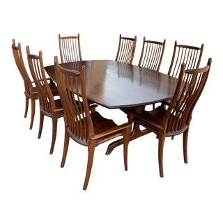 Late 20th Century Stephen Swift Furniture Maker Handmade Dining Set For Sale
