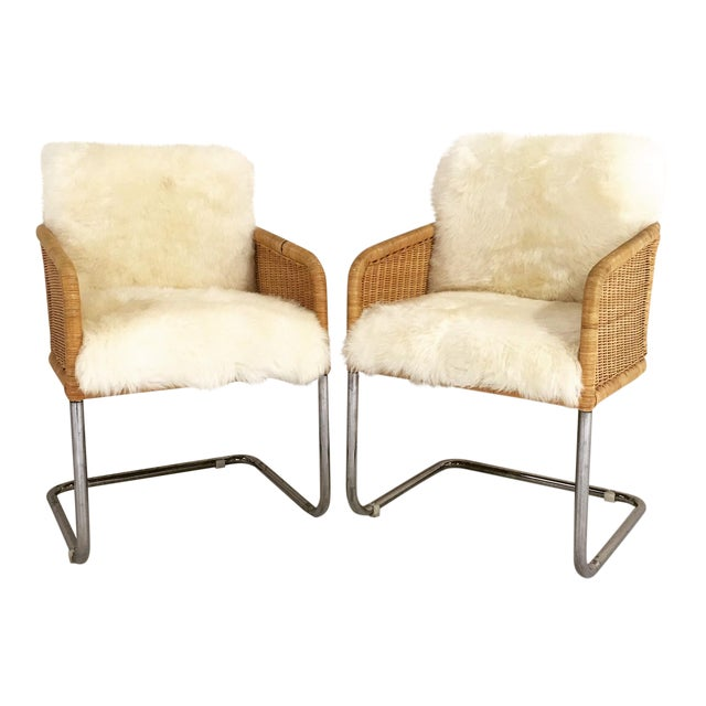 Woven Sheepskin Cushion Chairs - Pair - Image 1 of 6