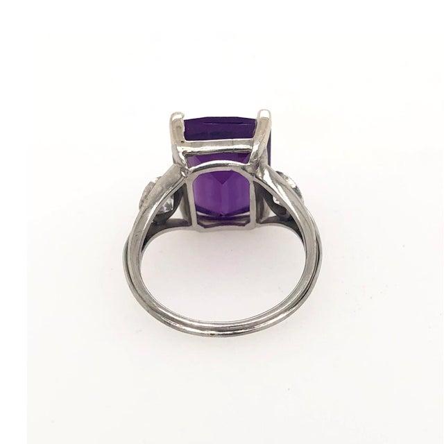 Modern Vintage Platinum Diamond & Fantasy Cut Amethyst Ring For Sale - Image 3 of 5