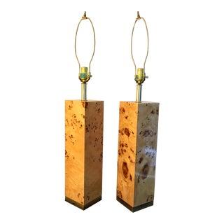 Vintage Milo Baughman Style Lacquered Burl Wood Table Lamps - a Pair
