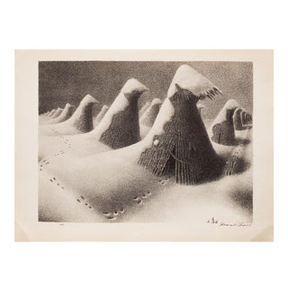 "1930s Lithograph ""January"" by Grant Wood"