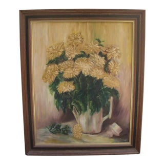 Mid-Century Modern Still Life of Yellow Chrysanthemums Painting For Sale