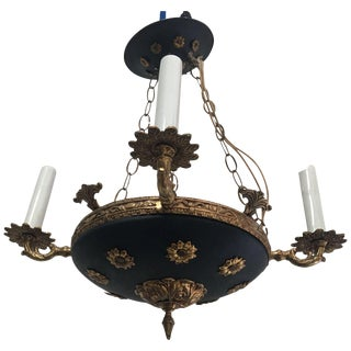 Vintage 1950's French Empire Style Tole Gilt Brass Chandelier