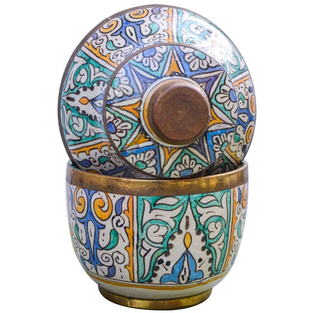 Moroccan Ceramic Lidded Bowl With Arabesque For Sale - Image 11 of 12
