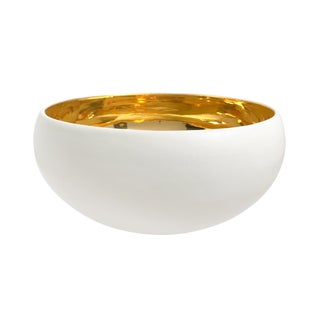Large Alabaster and 22-Karat Gold Glaze Curved Ceramic Bowl by Sandi Fellman For Sale
