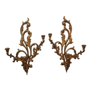 1950s Hollywood Regency Syroco Wood Wall Candle Sconces - a Pair For Sale