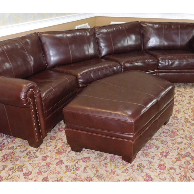 3-Piece Bernhardt Brown Leather Sectional Sofa & Ottoman | Chairish