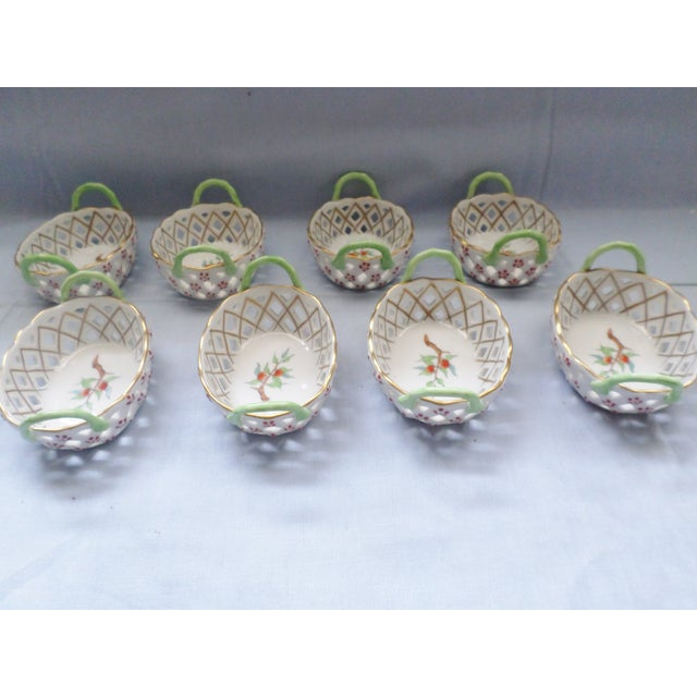 Ceramic Vintage Herend Hungary Porcelain Lattice & Cherry Design Individual Nut or Sweetmeat Baskets - Set of 8 For Sale - Image 7 of 12
