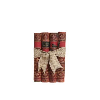 Antique Decorative Book Gift Set: Weathered Red Leathers