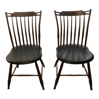 19th Century Americana Stick Back Maple Dining Chairs - a Pair