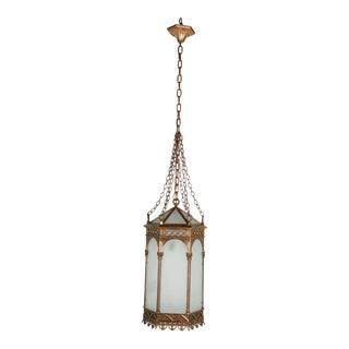19th Century Gothic American Bronze & Glass Hexagonal Pendant For Sale