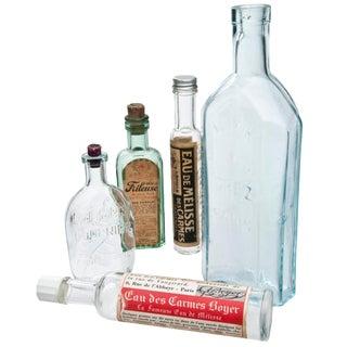 Vintage French Pharmacy Bottles - Set of 5