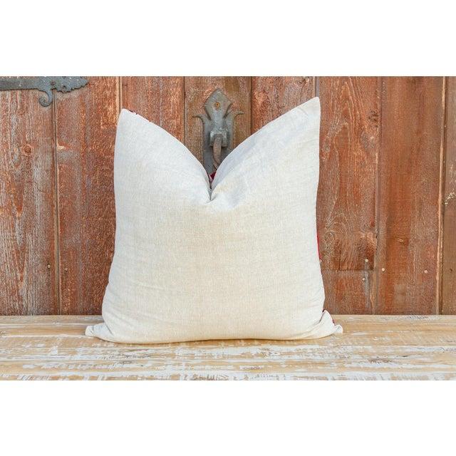 White Rakti Royal Red Suzani Pillow For Sale - Image 8 of 10