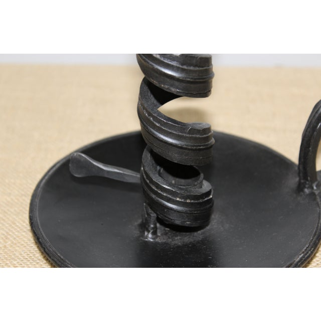 Traditional Pair of Vintage Metal Candlestick Holders with Handle For Sale - Image 3 of 12