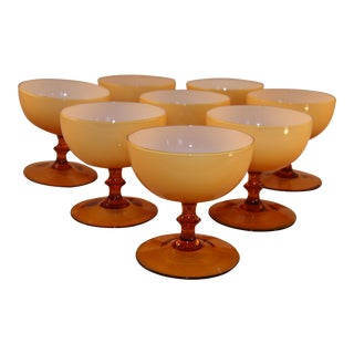 Vintage Italian Empoli Amber Colored Dessert Coups - Set of 8 For Sale