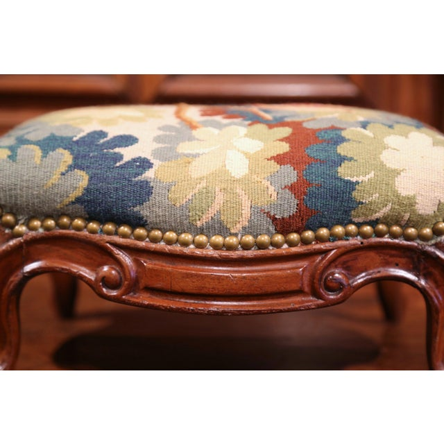 Pair of 19th Century, French, Carved Walnut Stools with Old Aubusson Tapestry For Sale - Image 5 of 10