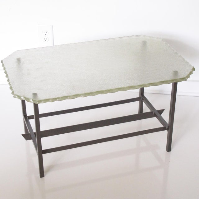 Fontana Arte Style 1960s Italian Glass Slab and Metal Coffee or Cocktail Table For Sale - Image 9 of 10