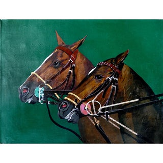 Jose Maria Ansalone Polo Horse Equestrian Oil Painting on Canvas For Sale