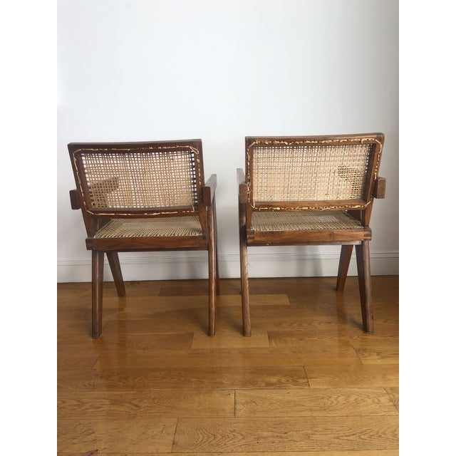 Mid 20th Century Pierre Jeanneret Caned Armchairs - a Pair For Sale - Image 5 of 11