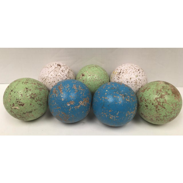 Blue 1950s Italian Painted Wooden Bocce Balls - Set of 7 For Sale - Image 8 of 8