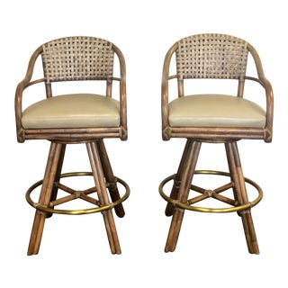 1990s McGuire Bamboo Rattan Woven Rawhide Bar Stools – a Pair For Sale