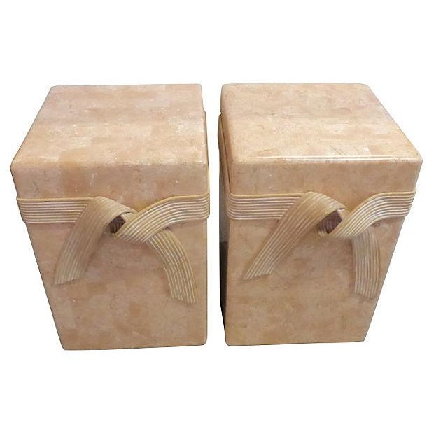 Mid-Century Tessellated Stone Side Tables - Pair - Image 3 of 6
