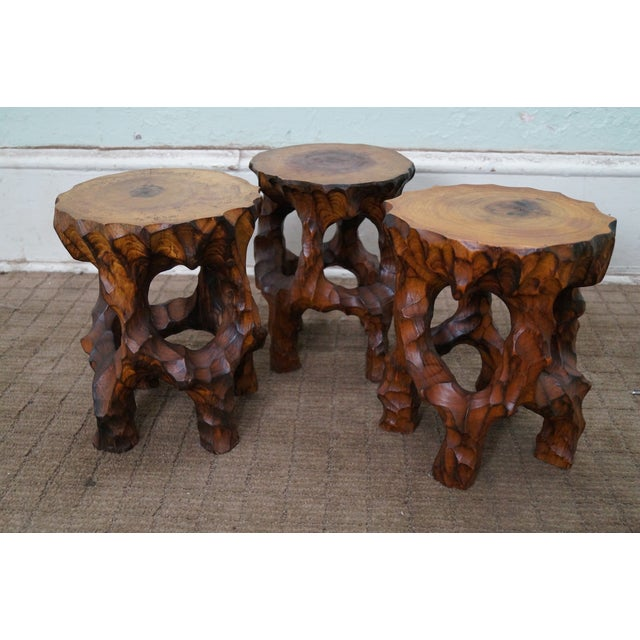 Mid Century Small Tree Stump Carved End Tables - Image 4 of 10