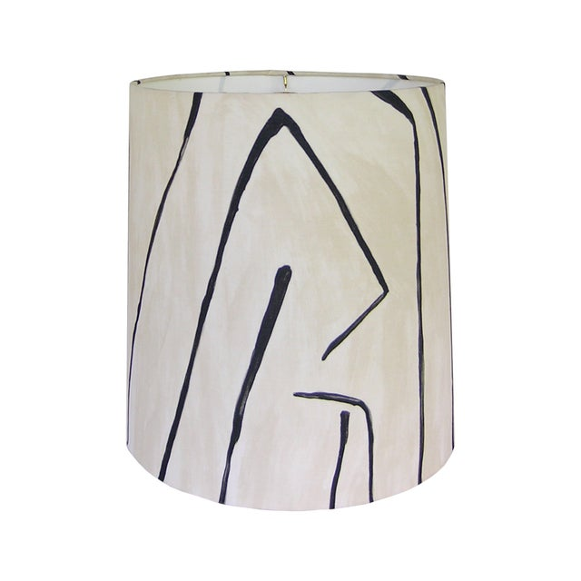 Groundworks Graffito in Linen/Onyx Drum Shade For Sale - Image 4 of 4