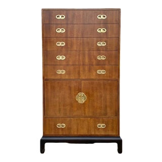 1960s Henredon Mindoro and Brass Armoire For Sale