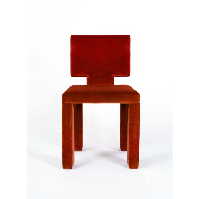 Contemporary Contemporary Dining Chairs in Crimson Cotton Velvet - Set of 6 For Sale - Image 3 of 7