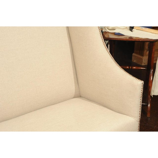 High Back Sofa with Carved Walnut Base For Sale In San Francisco - Image 6 of 9