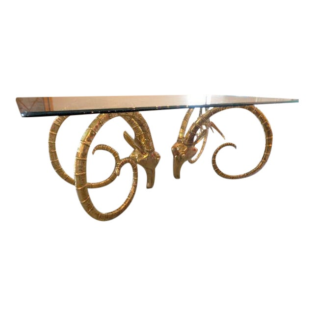 Hollywood Regency Chervet Style Brass Rams Head Ibex Dining Table - Image 1 of 6