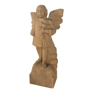 19th Century Carved Limestone Angel For Sale