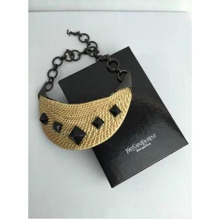 Yves Saint Laurent Yves Saint Laurent Wicker Bib Necklace. Huge. Runway Piece. So Dramatic! For Sale - Image 4 of 7