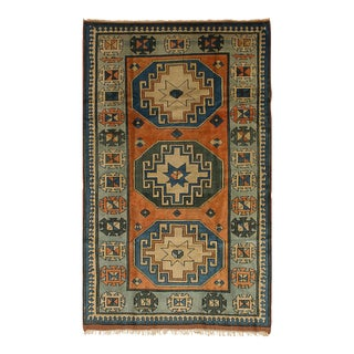 Vintage Turkish Oushak Orange and Blue Rug - 4' x 7'1""