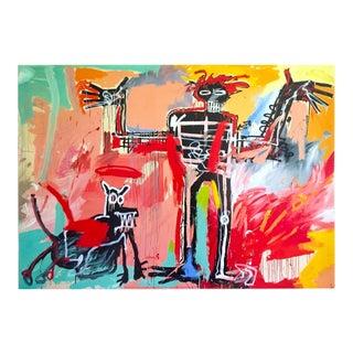 "Jean Michel Basquiat Estate Fine Art Lithograph Pop Art Print "" Boy and Dog in a Johnnypump "" 1982 For Sale"