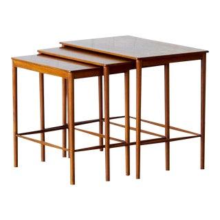 Set of Mid-century Scandinavian Teak Nesting Tables, Grete Jalk for Poul Jeppesens Møbelsnedkeri, Circa 1970.