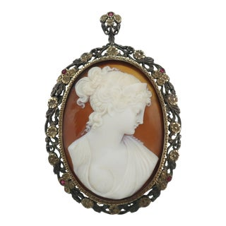 Early 1900's Antique Cameo 14k Gold & Ruby Pendant Brooch For Sale