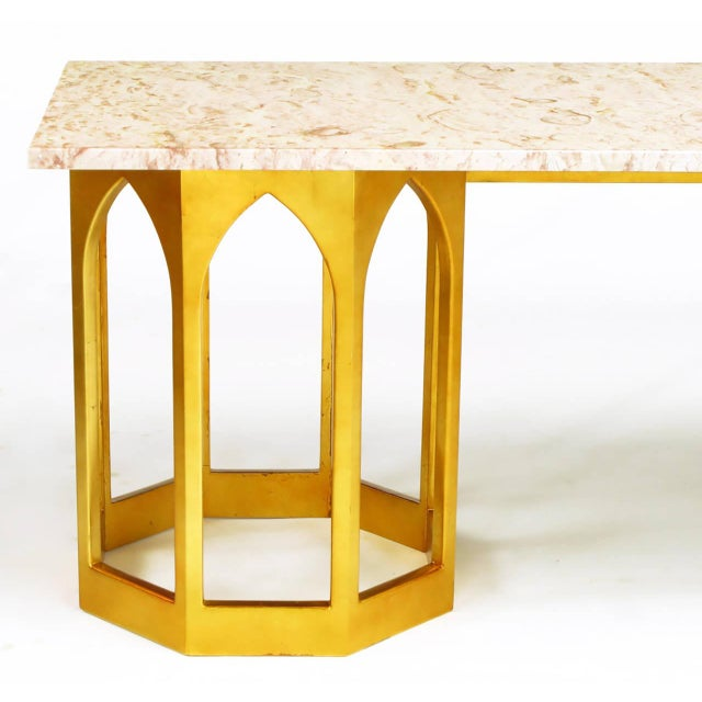 Marble Top Console Table with Twin Gilt Octagonal Bases - Image 6 of 7