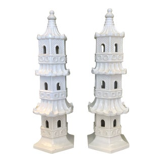Italian Ceramic Pagodas, a Pair For Sale