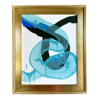"""Jessalin Beutler """"Turquoise Knot"""" 2021 Framed Painting For Sale"""