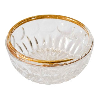 Art Deco Carved Glass Bowl With Gold Accent For Sale
