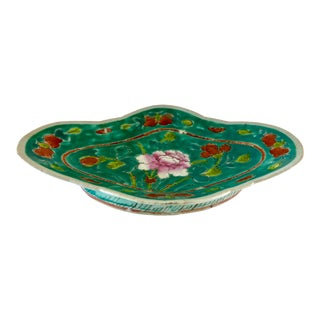 Vintage Chinoiserie Large Pedestal Dish For Sale