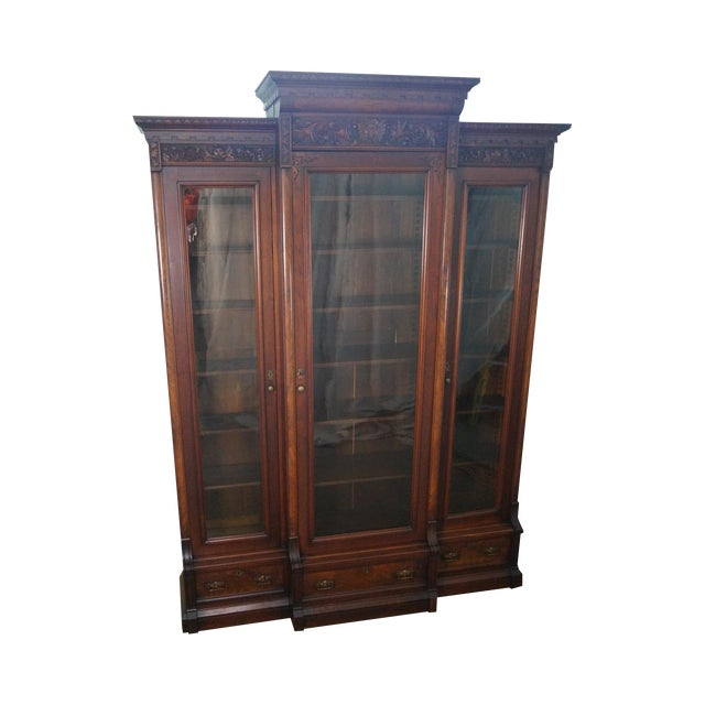 Antique Victorian Walnut Bookcase For Sale