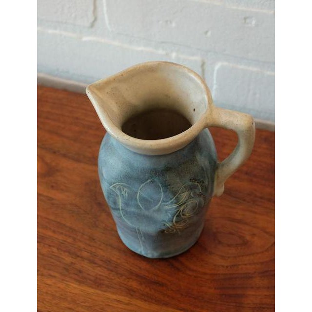 Mid-Century Puerto Rican Pottery Blue Studio Pottery Pitcher For Sale - Image 5 of 6