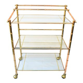 Vintage Faux Bamboo Brass Bar Cart