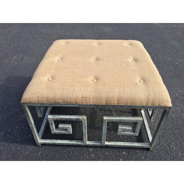 Greek Key Iron and Burlap Upholstery Ottoman/Coffee Table For Sale - Image 4 of 11