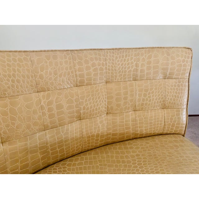 Metal Semicircular Butter Sofa With Alligator Embossment For Sale - Image 7 of 13