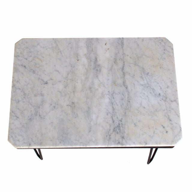 Italian Carrera Marble Hairpin Table For Sale - Image 3 of 7